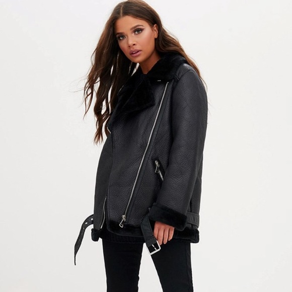 unique design unique style newest collection SEASON SALE! Belted PU aviator jacket NWT